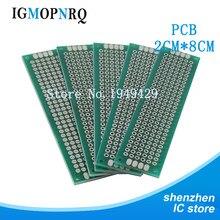 10 pces duplo lado protótipo pcb 2*8cm diy universal placa de circuito impresso 2x8cm