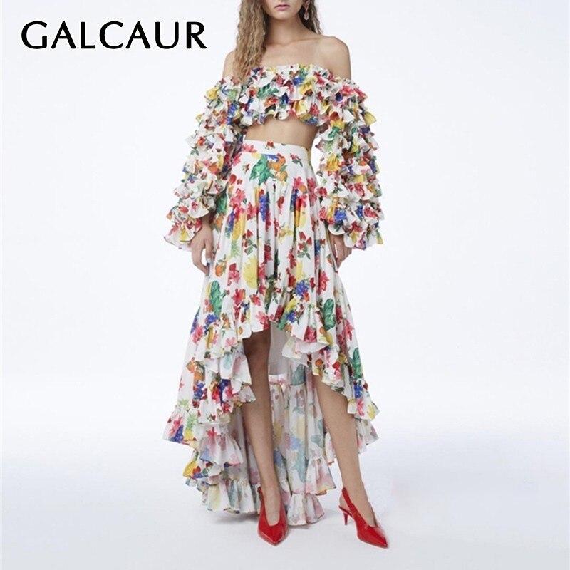 Kadın Giyim'ten Kadın Setleri'de GALCAUR Vintage Baskı Kadın Takım Elbise Slash Boyun Puf Kollu Mahsul Tops Yüksek Bel Asimetrik Etek Iki Parçalı Set Kadın Yaz 2019'da  Grup 1