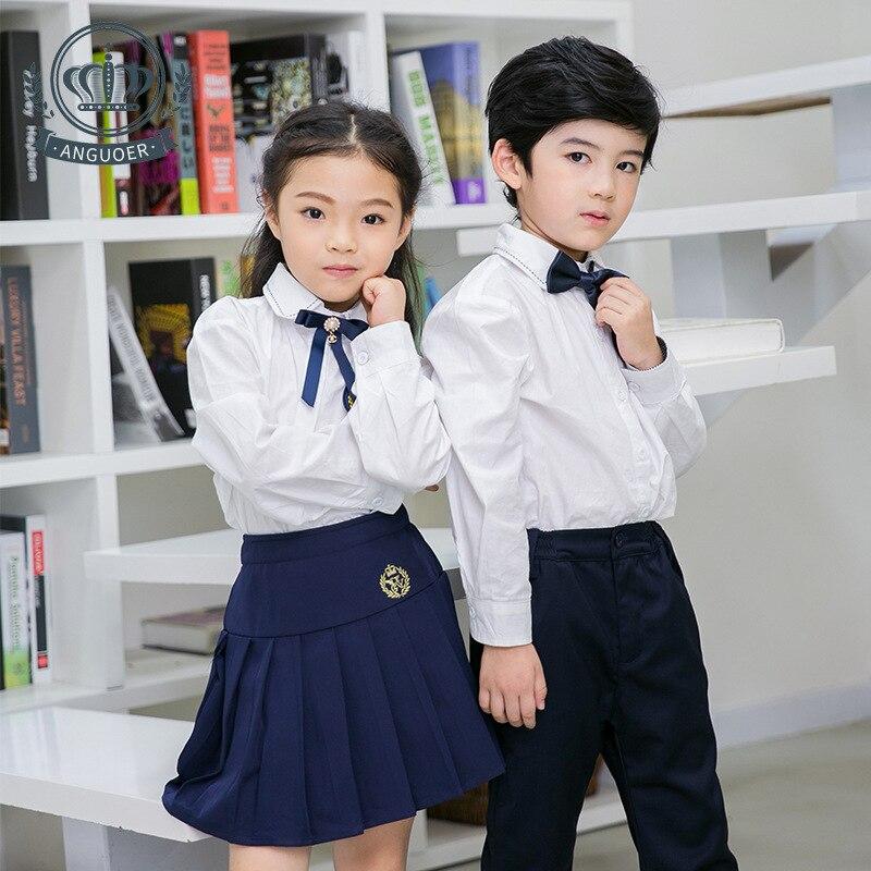 Kids School Uniforms Children Cotton School Wear Long Sleeve Clothes Students Summer Kindergarten Uniforms Suit 2pcs D-0598