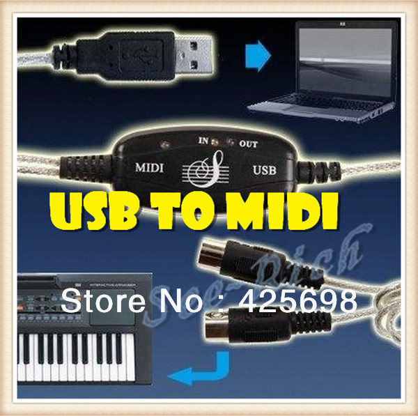 Factory price! MIDI USB Cable Converter to PC Music Keyboard Adapter Retail & Wholesale 2M USB to MIDI Free shipping