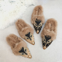 Fuzzy Flats Women Crystal Shoes Fox Cherry Mules Slip On Fluffy Fashion Ladies Flock Black Shoes Fur Winter Flats Women Footwear