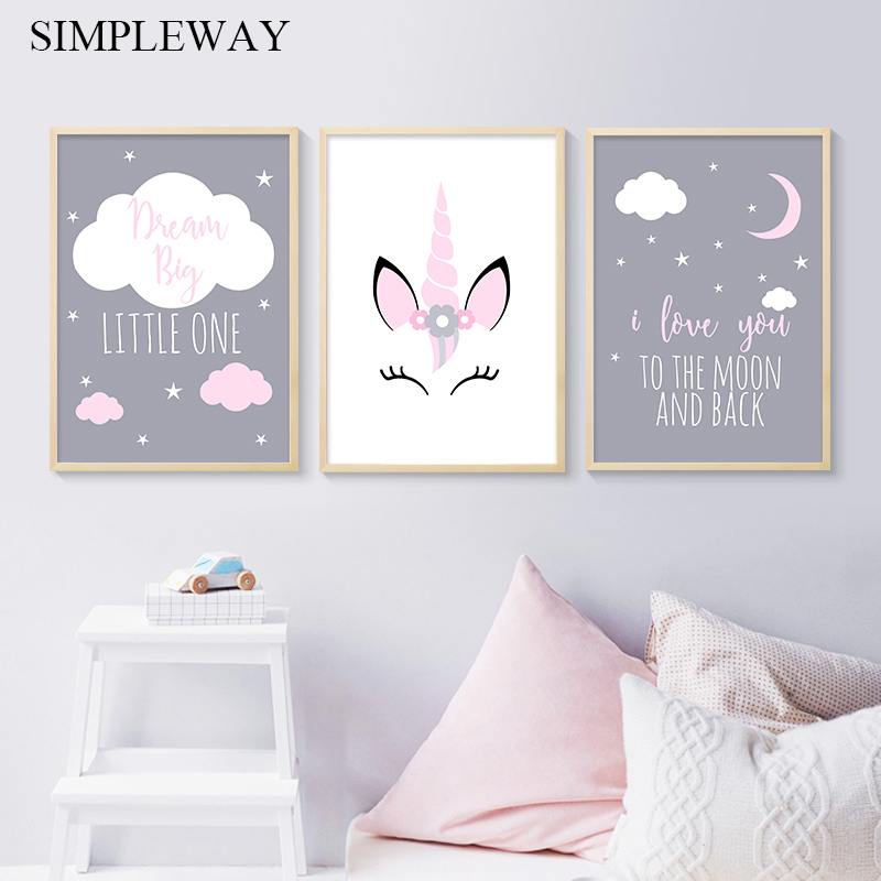 Unicorn Canvas Poster Baby Girl Nursery Quotes Wall Art Print Love You To The Moon Painting Nordic Kids Room Decoration Picture