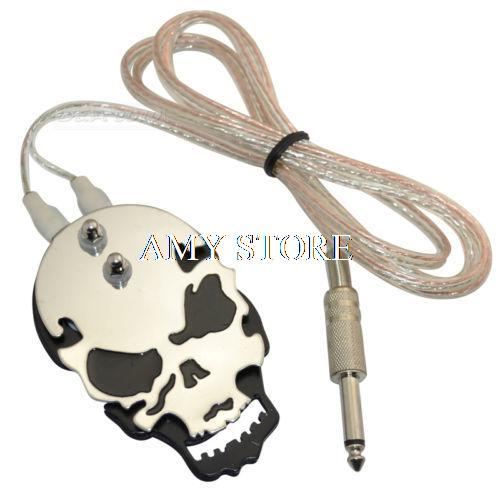 Black Red Yellow Blue Skull Design Stainless Steel Tattoo Foot Pedal Switch Footswitch Power Supply professional round blue color 1 8 meters stainless steel tattoo foot pedal switch equipment supply tattoo clipcord dz 04b