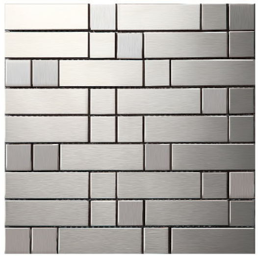 Sample Stainless Steel Metal Pattern Mosaic Tile Kitchen: Strip Metal Mosaic Stainless Steel Tile Kitchen Backsplash