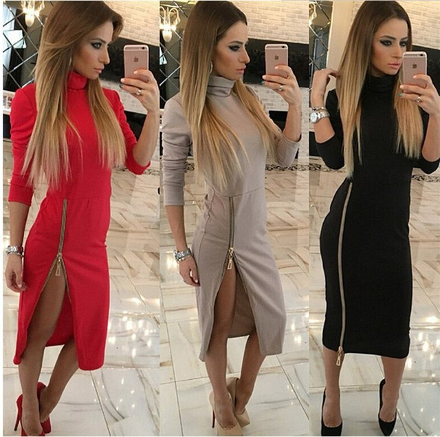 High Neck New 2017 Autumn Women Casual Dress Side Zipper Up Split Sexy Party Dresses Long Sleeve Straight Vestidos tops
