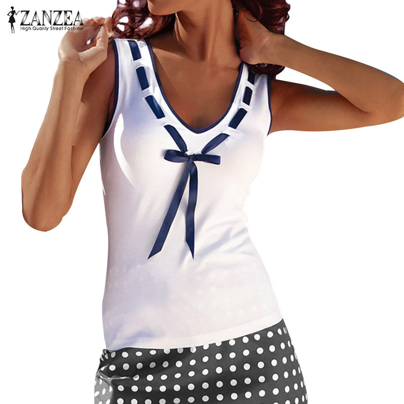 ZANZEA 2018 Summer Tops Tee Women Blouses Casual Shirts Sleeveless Patchwork Shirt Slim Fit Bow Blusas Femininos Plus Size Vest