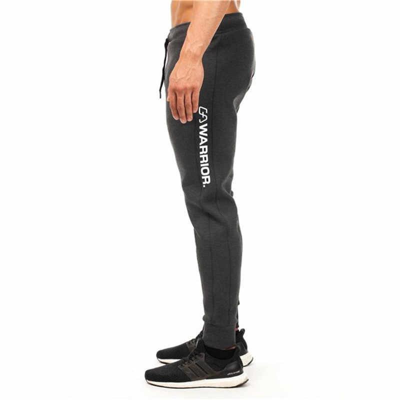 Уличная одежда Горячая 2018 осенние мужские штаны, модные мужские штаны, повседневные облегающие мужские спортивные штаны темно-серого цвета
