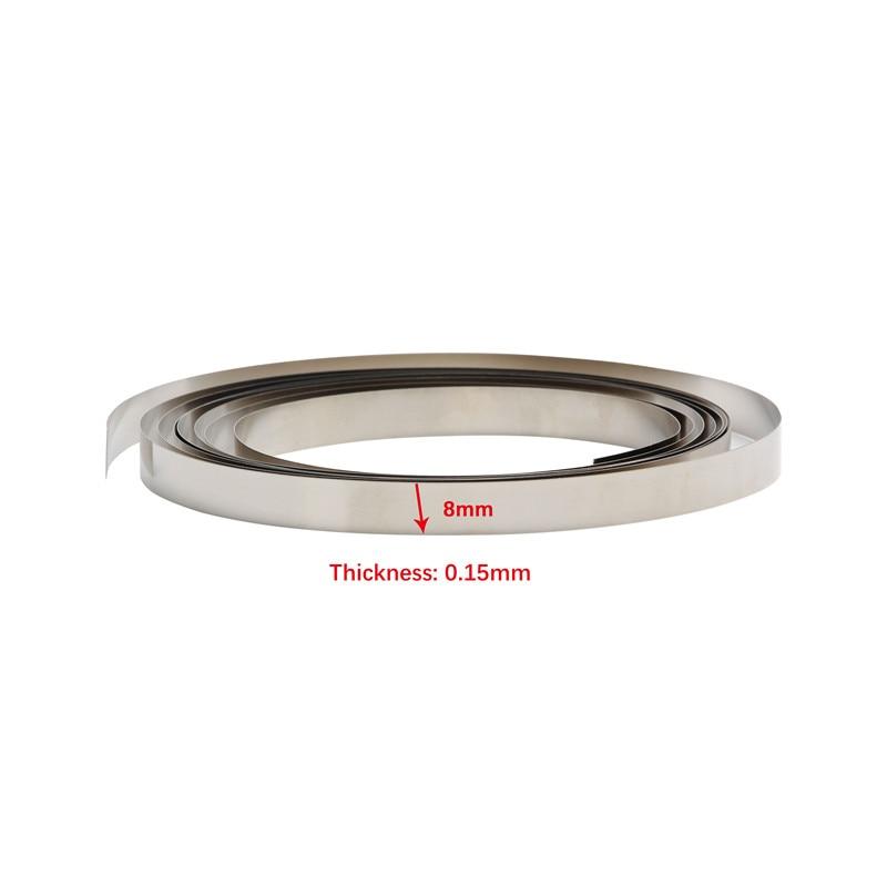 1Pcs Pure Nickel Strip Tape 2M 8mm X 0.1/0.12/0.15 For Li 18650 Battery Spot Welding Compatible For Spot Welder Machine