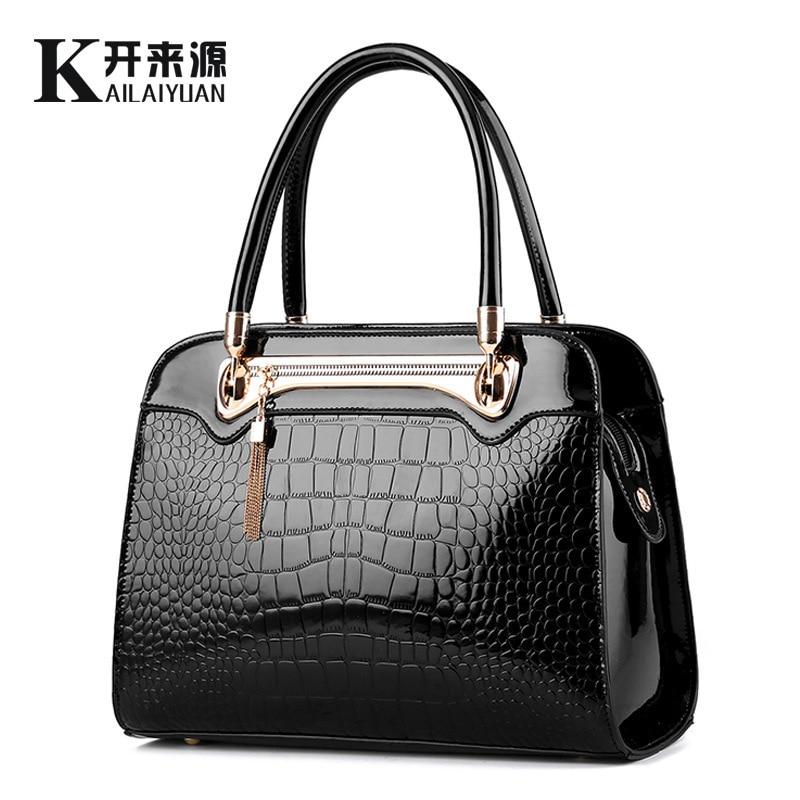 ФОТО Bag Woman 2016 New Pattern Light Patent Leather Crocodile Grain Fashion European Demeanour Atmosphere Single Shoulder Handbag