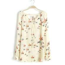 Women Spring Sweet Elegance Fashion Beige Chiffon Floral Printed Long Sleeve Casual Blouse Shirts Tops