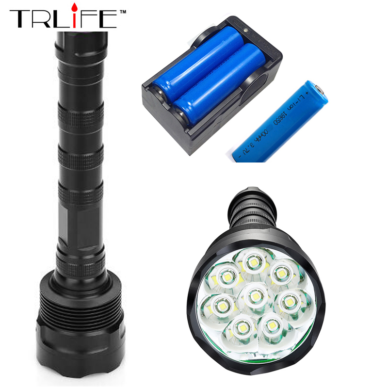 8T6 Torch LED Flashlight 20000 Lumens Lamp Lights 8 XM-L T6 Flash Light Floodlight Camping Lantern Hunting + 3x 18650 +Charger 3800 lumens cree xm l t6 5 modes led tactical flashlight torch waterproof lamp torch hunting flash light lantern for camping z93