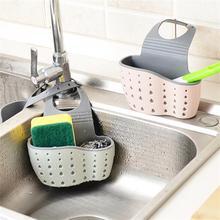 Kitchen Sink Sponge Storage Hanging Basket Adjustable Snap Button Type Drain Rack Faucet Baskets