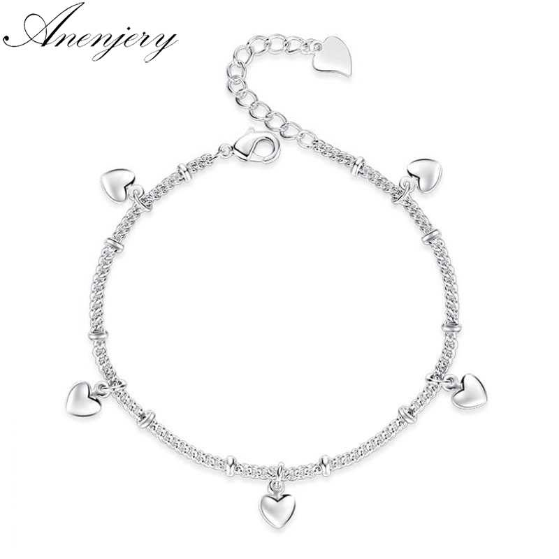 anenjery 925 Sterling Silver Bracelets For Women Lucky Love Heart Silver Chain  Bracelet pulseira Gift Wedding Jewelry S-B164