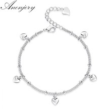 anenjery 925 Sterling Silver Bracelets For Women Lucky Love Heart Silver Chain Bracelet pulseira Gift Wedding Jewelry S-B164(China)
