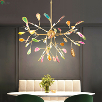 Modern Agate Led Chandeliers Lighting Living Room Gold Metal Led Pendant Chandelier Lights Dining Room Led Hanging Lamp Fixtures