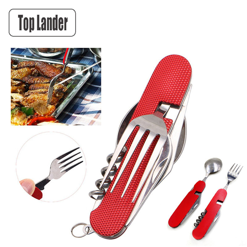 Portable Stainless Fork Knife Spoon Set for Outdoor Camping Hiking 6 in 1 Folding Tableware Picnic Travel Pocket Mini Cutlery