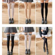 1ペアストライプストッキング女の子女性のオーバー膝腿高上膝ストッキングレディースガールズ暖かい膝靴下黒/白