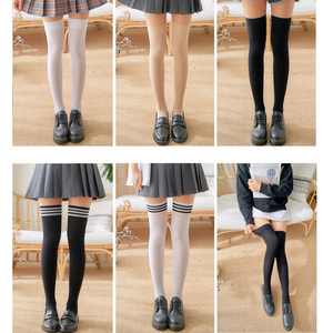 1 Pair Stripe Stockings Girls Women Over Knee Thigh High Over The Knee Stockings For Ladies Girls Warm Knee Socks black/white