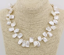 цены Natural White Baroque Keshi Pearl Necklace 18