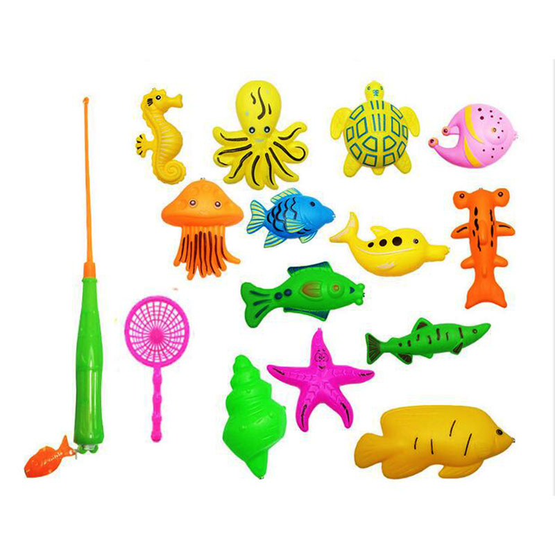 15 pcs / set Kids Baby gift Toddler Magnetic Fishing Pole Tools Bath Toys Game Summer outdoors Fishing toy Color random send