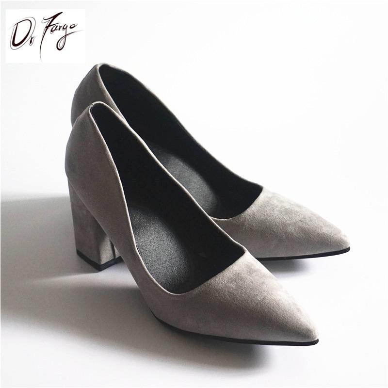 d2530acd49e4 ... DRFARGO Women s 7.5 cm Block Heel Sexy Pointed Toe Woman Pumps Summer  Spring EUR 34 -