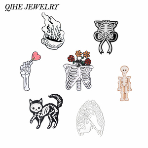QIHE JEWELRY Rib Cage pins collection Human Rib Cage Skeleton Cat Bone Gothic Punk Brooches Lapel pin Radiology Jewelry(China)