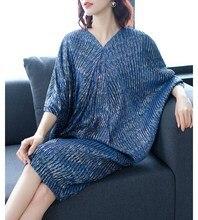 Summer Women Fashion Pleated Midi Dress Female Elegant Batwing Dresses Loose Office Lady