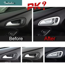 Tonlinker 4PCS DIY Car style ABS Chrome The Door Handle Decorative Light box Cover Case stickers For Ford Focus 2015 accessories