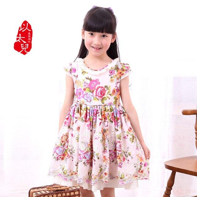 2013 100% cotton child one-piece dress flower chinese style children's clothing female child