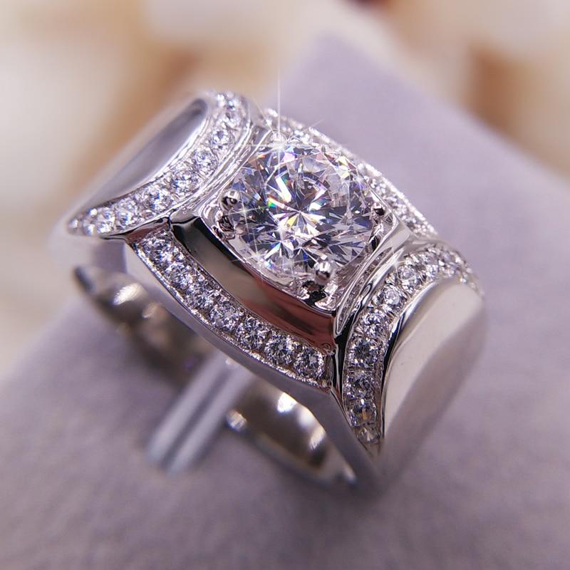 Taille 8/9/10/11/12/13 Solitaire bijoux de luxe 925 argent Sterling rempli rond coupe CZ zircone blanc griffe mariage hommes anneau cadeau