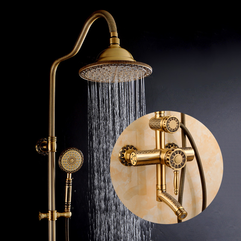 Shower Faucets Luxury Bath Shower Sets Bathroom Wall Mounted Hand Held Antique Brass Shower Head