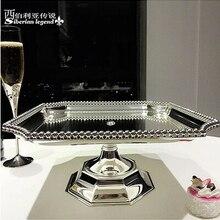 31*31 см Роскошная квадратная металлическая, для подставки для пирожных торта decoratingcake инструмент для декорирования серебряный поднос еды поднос декоративная ваза для фруктов DGP047
