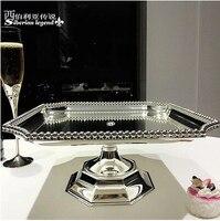 31*31cm Luxury square metal cake stand cake decoratingcake decorating tool silver tray food tray decorative fruit bowl DGP047