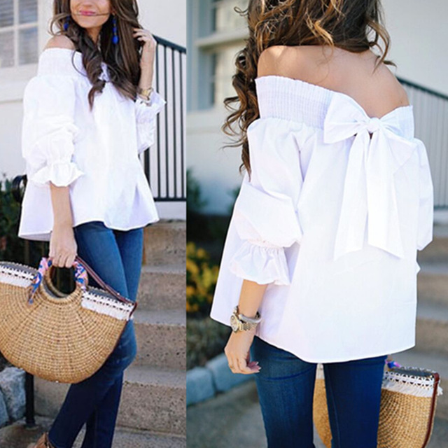 Women Slash Neck Blouse Casual Loose Off Shoulder Long Sleeve Tops Female Strapless Back Bowknot Shirts