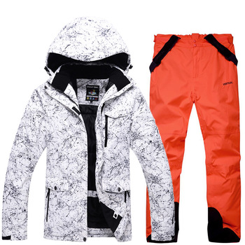 2017 outdoor ski suit men winter warm strap leather trousers + ski jacket windproof mountaineering sports jacket free shipping