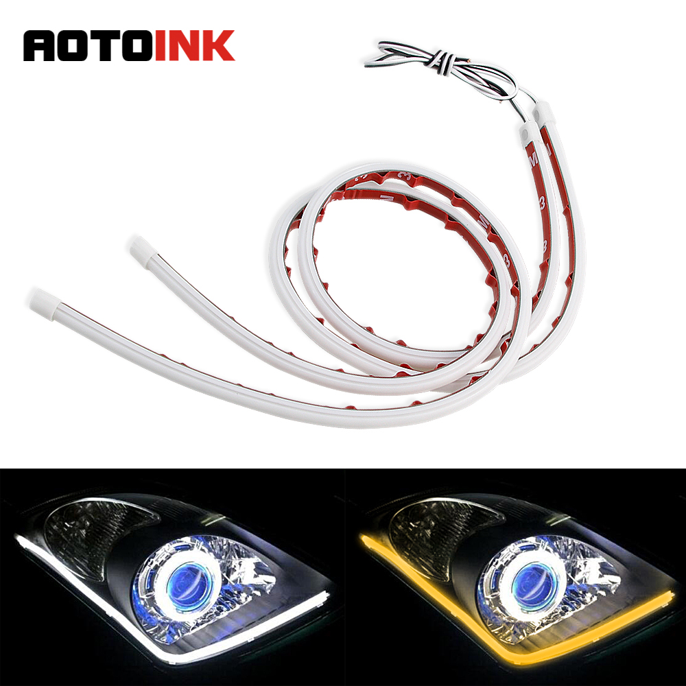 AOTOINK 30 60cm 3M Sticker Car DRL Daytime Running Light Flexible Soft Tube Guide Car Styling LED Strip Turn signal Yellow EB