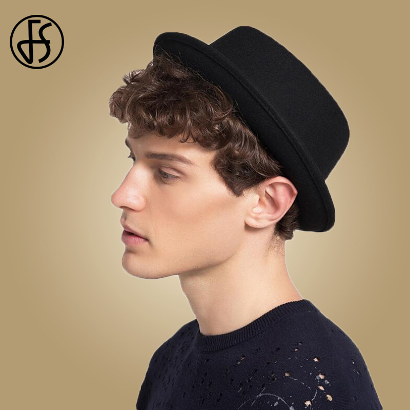 03dda54289f FS 2018 Men Hats Classic Black Wool Felt Hat Ribbon Black Wide Brim Church  Winter Jazz