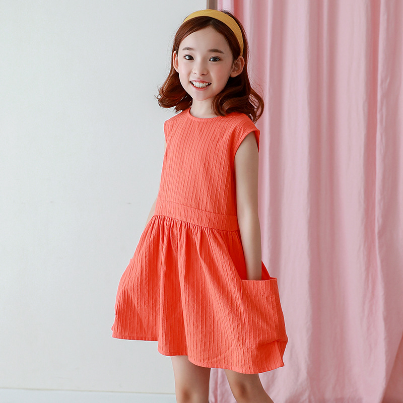 2018 Summer Girls Dress For Teen Kids Clothes Printed Solid Dress For Girls Vestidos Sleeveless With Pockets Teenage Dresses