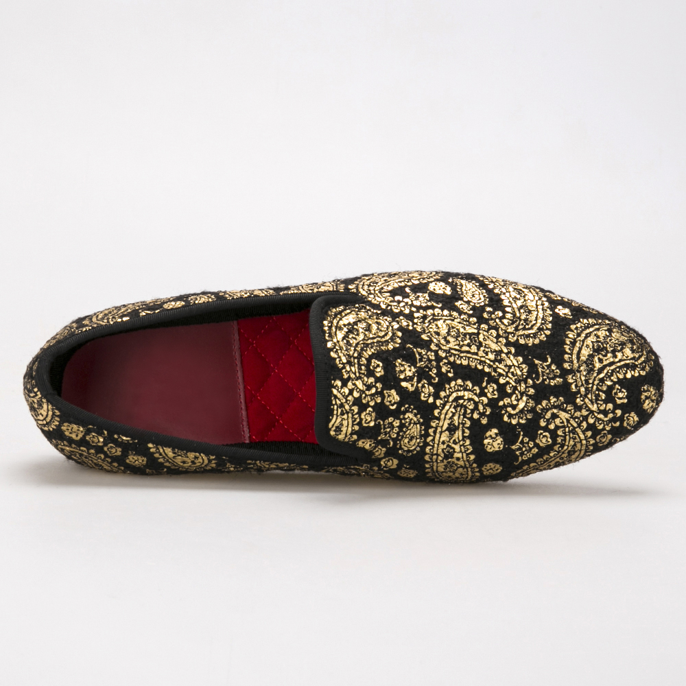 Flores Vestido Zapatillas Oro La De Estilo Para Marañón Imprime Terciopelo Fumar Y Partido Zapatos Hombre Mocasines Hombres Boda Británico SdUqdR