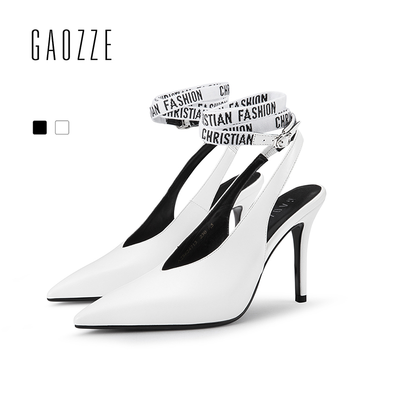 GAOZZE Fashion Pointed Toe Leather Sexy Thin High Heels Pump Shoes Printed Ankle Straps Slingbacks Sandals Women Office Shoes недорго, оригинальная цена