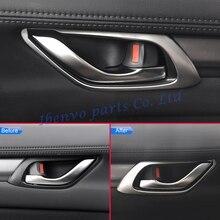 4Pcs Stile Auto Interni Maniglie Delle Porte Stampaggio Copertura Trim Per Mazda CX 5 KF CX5 2017 2018 Matte Chrome Frame accessori
