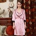 2017 Nueva Primavera Verano Moda Homewear Para Mujer de satén de seda 2 piezas traje Mujer marca robe sets Laides Sexy de encaje camisón
