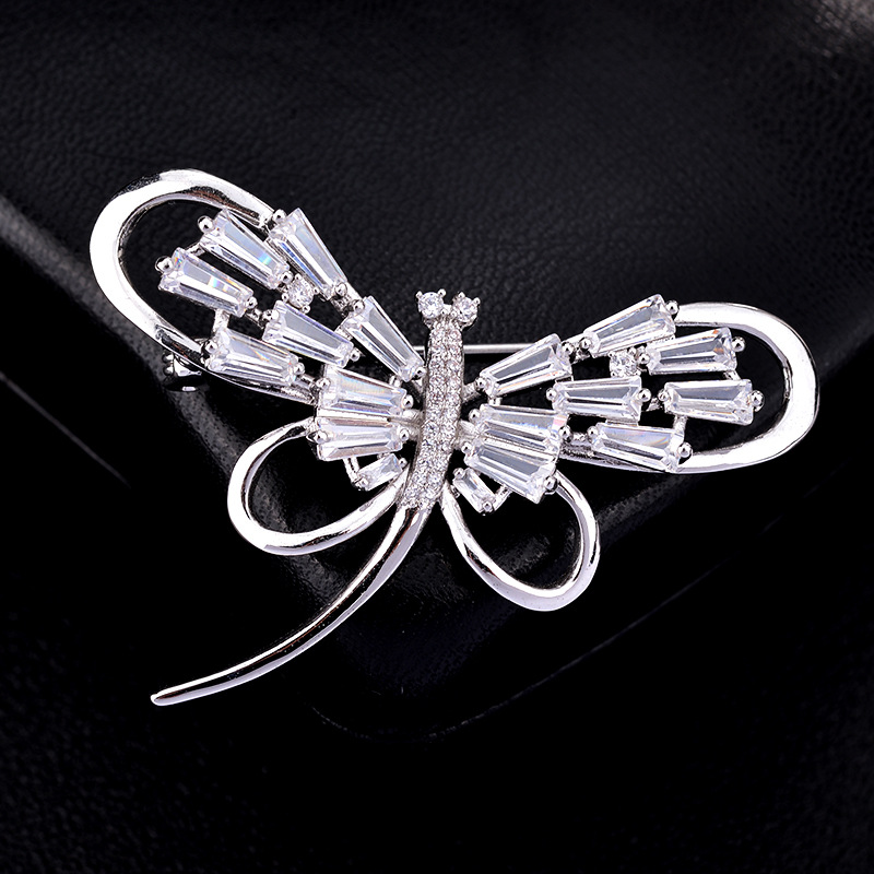 Red Trees Brand High Quality Insect Shape Dragonfly Brooches Pins For Women With Luxury AAA Cubic Zirconia In Box broche
