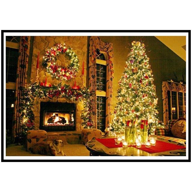 5d diy diamond painting christmas tree fireplace diamond mosaic embroidery round resin rhinestone cross stitch home