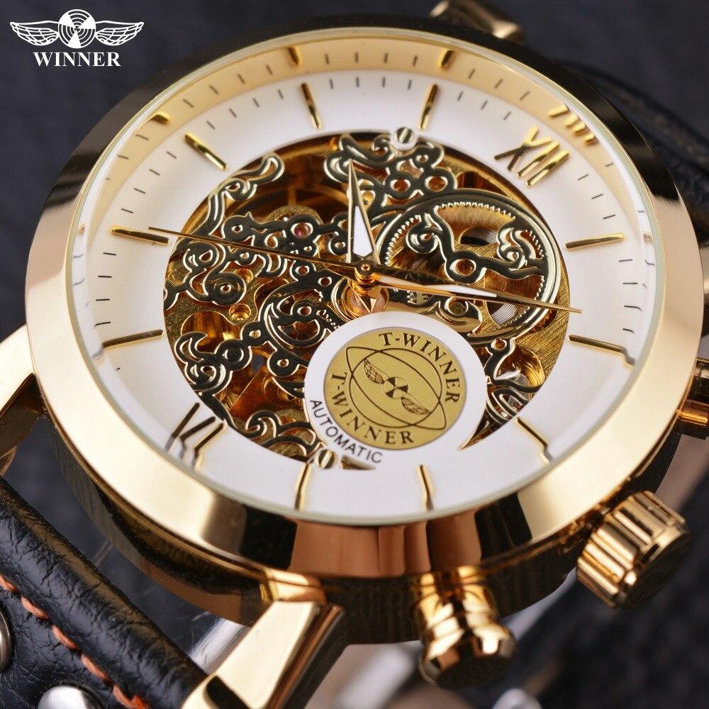 Winner White Golden Casual British Designer Black Genuine Leather Strap Automatic Watch Mens Watches Top Brand