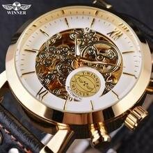 Часы winner white золотые повседневные дизайнерские черные из