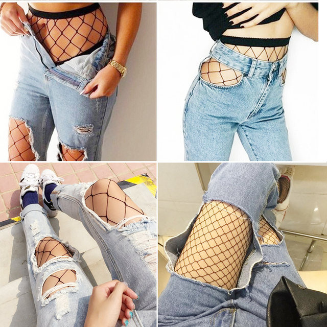 SEXY women high waist fishnet stocking fishnet club party tights panty knitting net pantyhose trouser mesh lingerie best sale