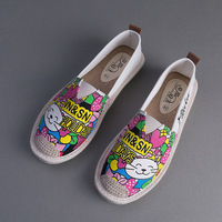 Hot Sales Summer Handmade Women S Espadrilles Canvas Flats Slip On Casual Loafers Graffiti Shoes Fisherman