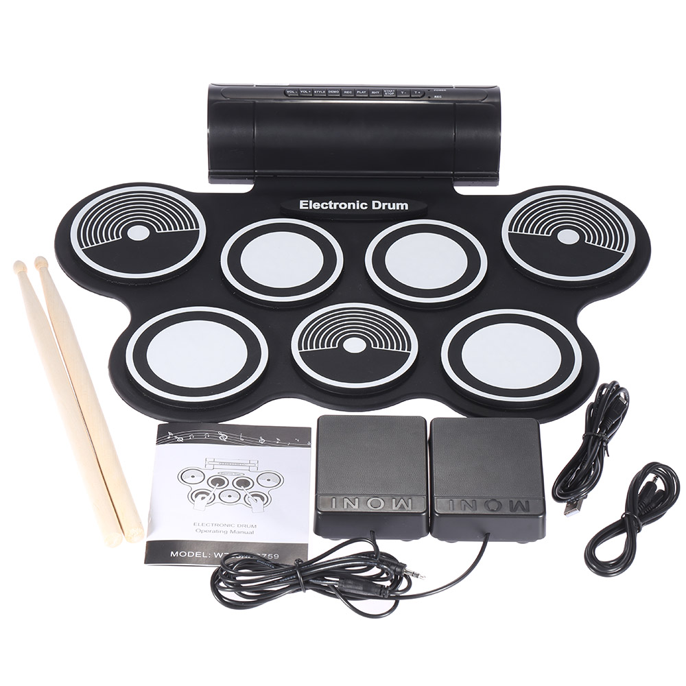 Portable Foldable Silicone Electronic Drum Pad Kit Digital USB Roll up with Drumstick Foot Pedal 3