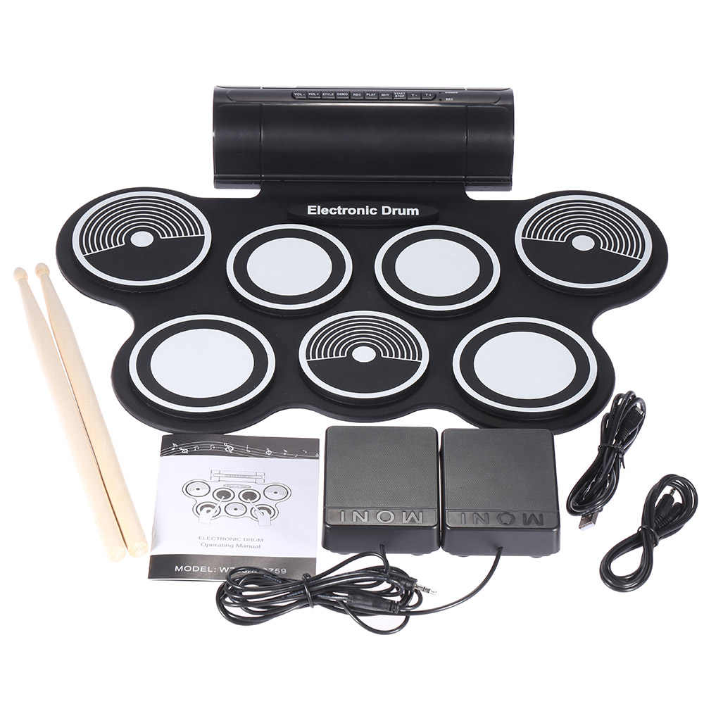 Portabel Lipat Silicone Elektronik Drum Pad Kit Digital USB Roll-up dengan Paha Kaki Pedal 3.5mm Audio Kabel